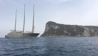 """143 meters Sailing Yacht """"A"""" arriving today in Nerano and now in Capri with Luise Group: the unit built by Nobiskrug for Andrey Melnichenko is a unique exemplair in the world"""