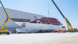 THE HULL OF COLUMBUS 80 M HAS REACHED THE ANCONA SHIPYARD, WATERBORNE, AFTER A LONG TRIP FROM NAPLES.